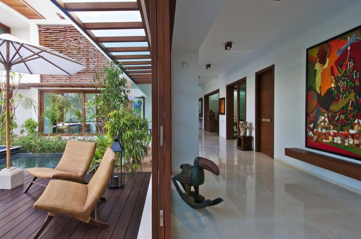 Terrace exit on Courtyard Home by Hiren Patel Architects