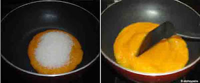 add sugar to the mango pulp