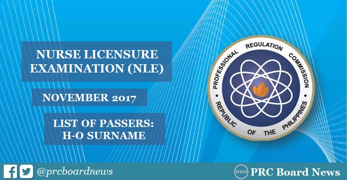 H-O Passers: November 2017 NLE nursing board exam results
