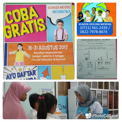 Belajar Gratis di COBA GRATIS Kumon Gedung Meneng Rajabasa Lampung