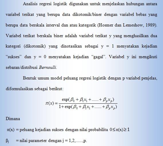 Melek Analisis Sosial Ekonomi Dan Lingkungan Regresi Logistik Biner Variabel Tak Bebas Dikotomi