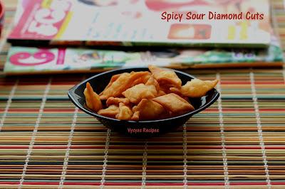 Spicy Sour Diamond Cuts - Spicy crispy  Shankarpali - Pulippu Maida Biscuit