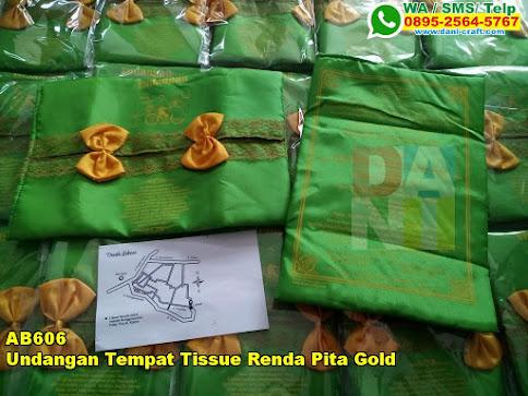 Jual Undangan Tempat Tissue Renda Pita Gold