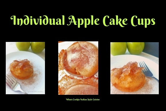 these are an easy upside cake with apples and homemade cake from scratch all done in a cupcake tin for individual servings. These are an easy upside down cake.