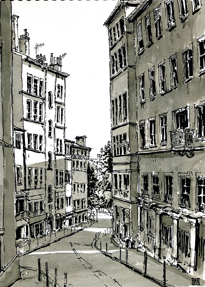 05-Montee-des-Carmelites-Lyon-France-Bruno-Mollière-Architectural-Street-Drawings-and-Sketches-www-designstack-co