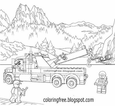 Lorry breakdown wagon legoland clipart image big road truck Lego city printable for kiddies to color