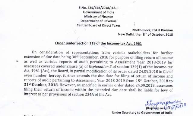 new date for filing audited balance sheet 31.10.2018