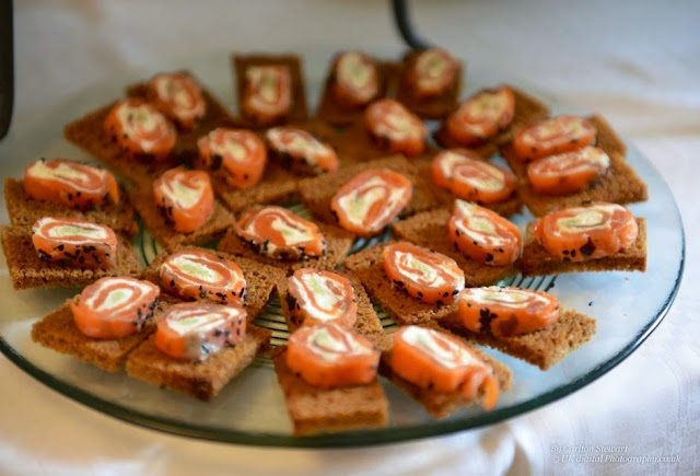 Cold smoked salmon wasabi rolls on sweet island bread