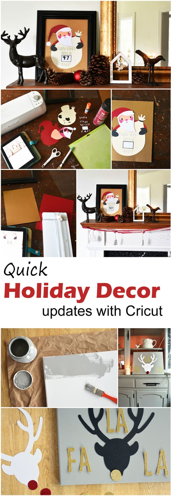 Quick, fun holiday decor projects to cut with your Cricut! #crafts #DIY #Christmas #Cricut