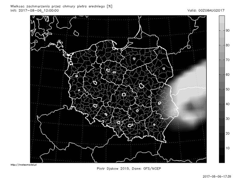 Ostatnia przed publikacją tekstu prognoza modelu GFS - zachmurzenie piętra średniego 8 sierpnia o godz. 00:00 CEST. Źródło: meteomodel.pl