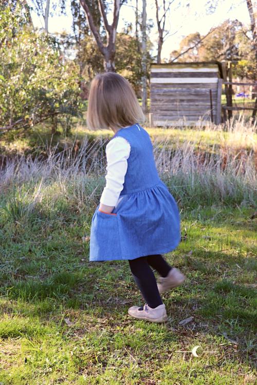 5706c2f71 Tic Tac Toe dress in denim - While she was sleeping