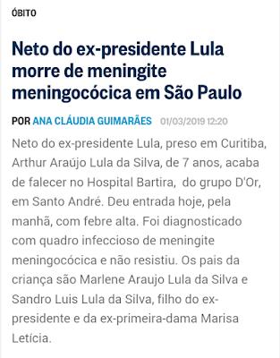 Nota da morte de neto de Lula na coluna do Ancelmo O Globo