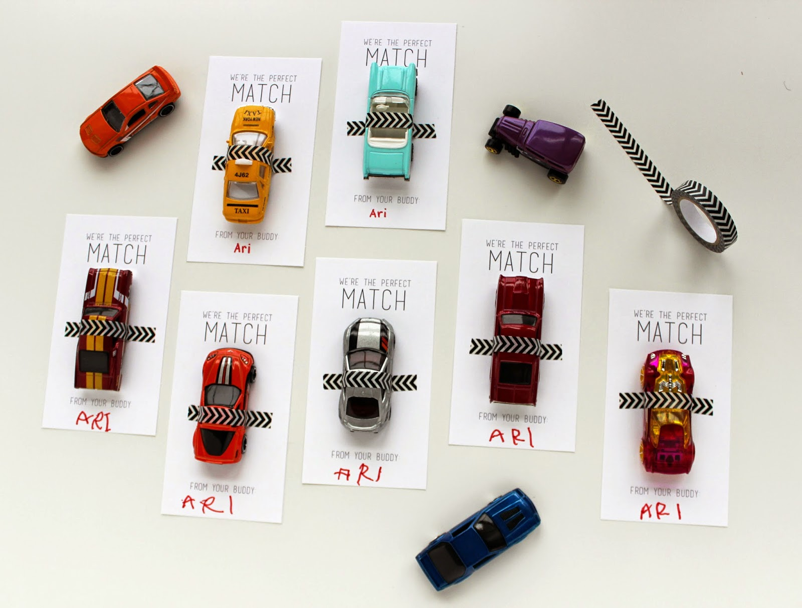Matchbox Cars Valentines Free Printable