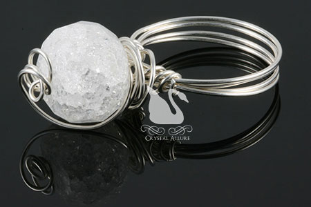 Snow Flurries Crystal Quartz Gemstone Silver Ring (R103)