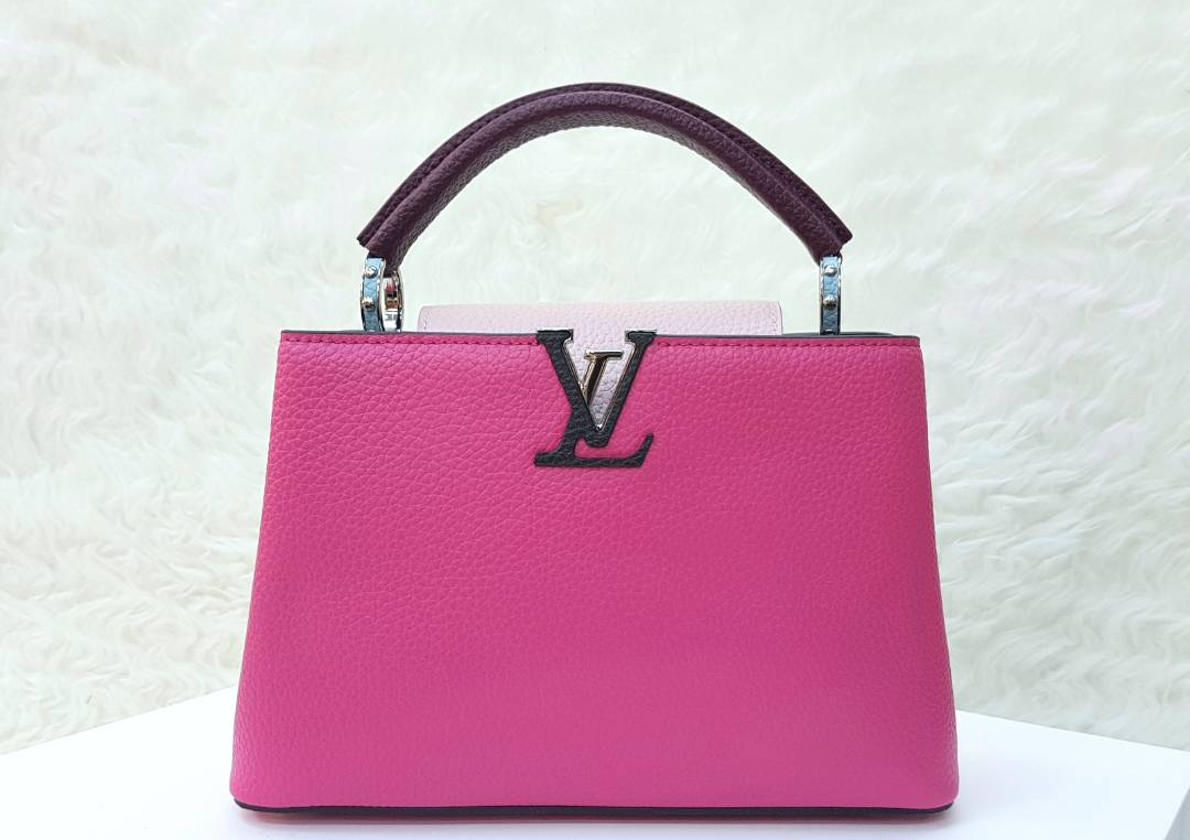 Tas Lv Capucines Bb Taurillon Leather Poppy Pink 3tones Grape Dompet Semi Kulit Warna Mirror Ori Asli