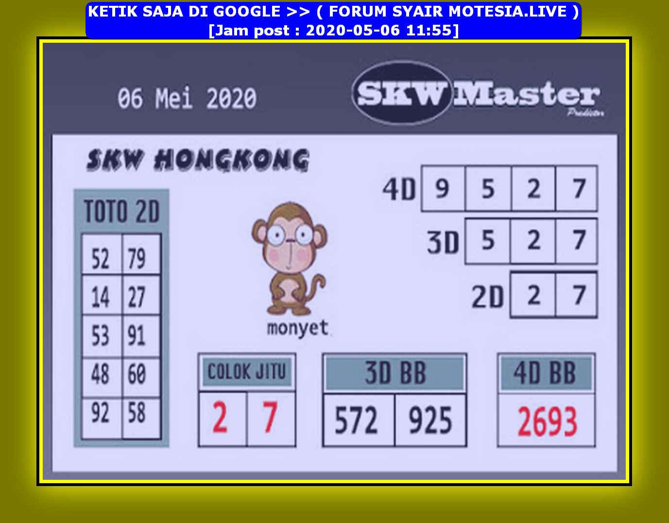 Kode syair Hongkong Rabu 6 Mei 2020 160