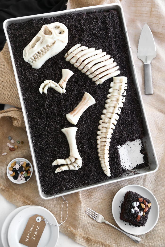 Dinosaur Dig Triple Chocolate Sheet Cake | Sprinkle Bakes