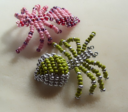 spiders made with beads and wire