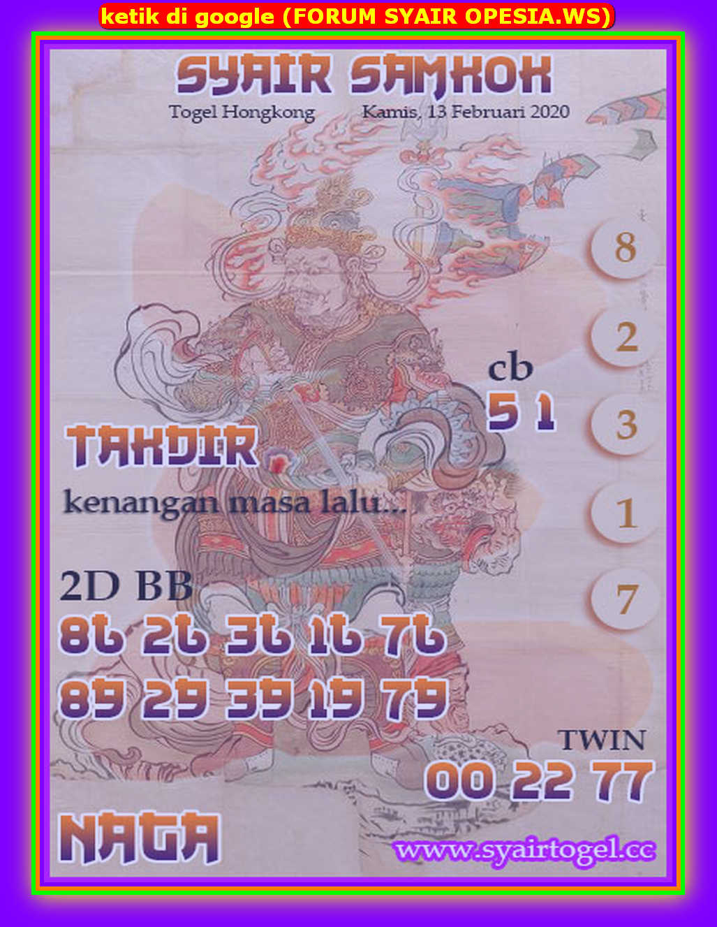 Kode syair Hongkong Kamis 13 Februari 2020 172