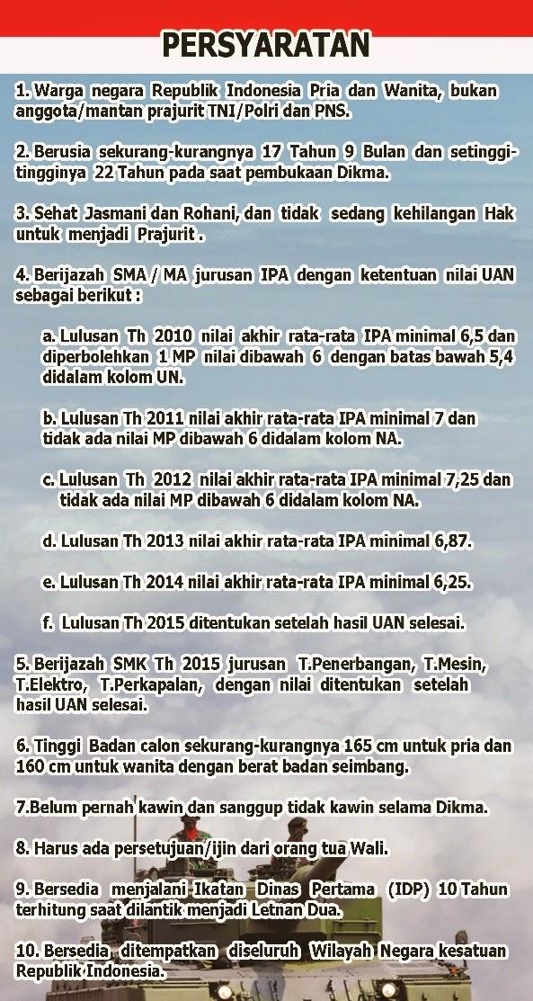 Penerimaan Cara dan Syarat Pendaftaran Akademi Taruna TNI 2015