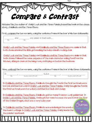 FREE Compare and Contrast Worksheet to accompany the mentor text, Goldy Luck and the Three Pandas