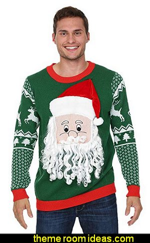 Santa with 3D Beard and Hat Men's Ugly Christmas Sweater   ugly sweaters - Christmas ugly sweaters  - decorate yourself - womens ugly sweaters - ugly mens sweaters - embellished ugly sweaters - fun sweaters - novelty sweaters - Christmas party sweaters - quirky party sweaters -  Christmas party hats