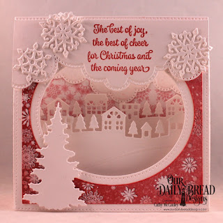 Our Daily Bread Designs Stamp Set: Christmas Card Verses, Paper Collection: Snowflake Season, Custom Dies: Diorama with Layers, Neighborhood Border, Cloud Borders, Snow Crystals, Trees and Deer, Curvy Slopes
