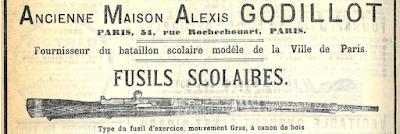 """Publicité dans le Journal des Instituteurs et des Institutrices, décembre 1883 (collection bibliothèque de l'Hôtel de ville Paris, le musée de la Maison d'Ecole possède un exemplaire de ce fusil """"Gras"""")"""