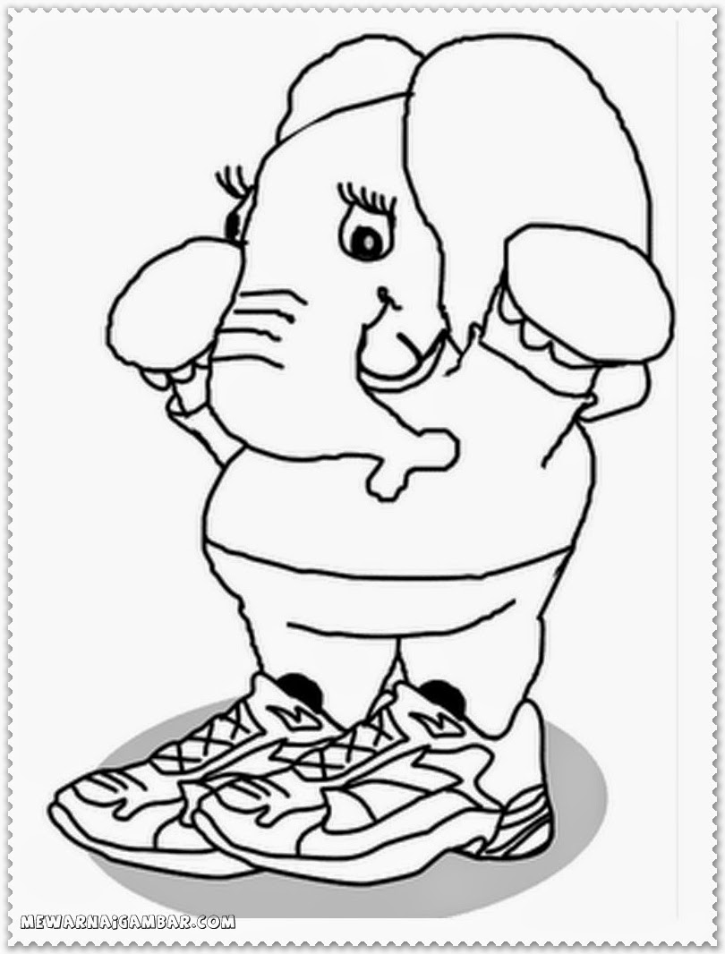 Black And White Elephant Coloring Pages