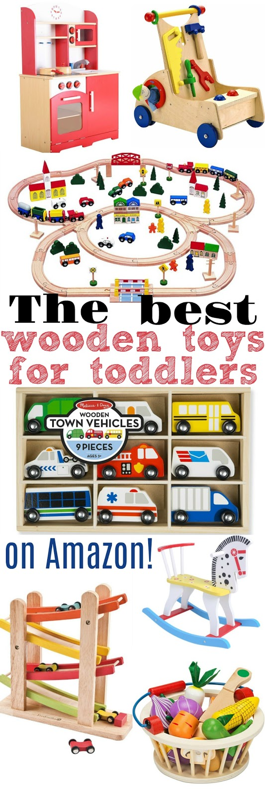 These wooden toys are great for toddlers to play and develop skills with