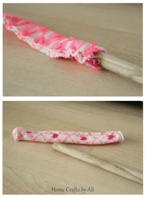 Use wooden spoon to turn small sewn items right side out