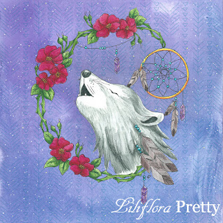wolf dreamcatcher roses feathers torquise night sky stars native american