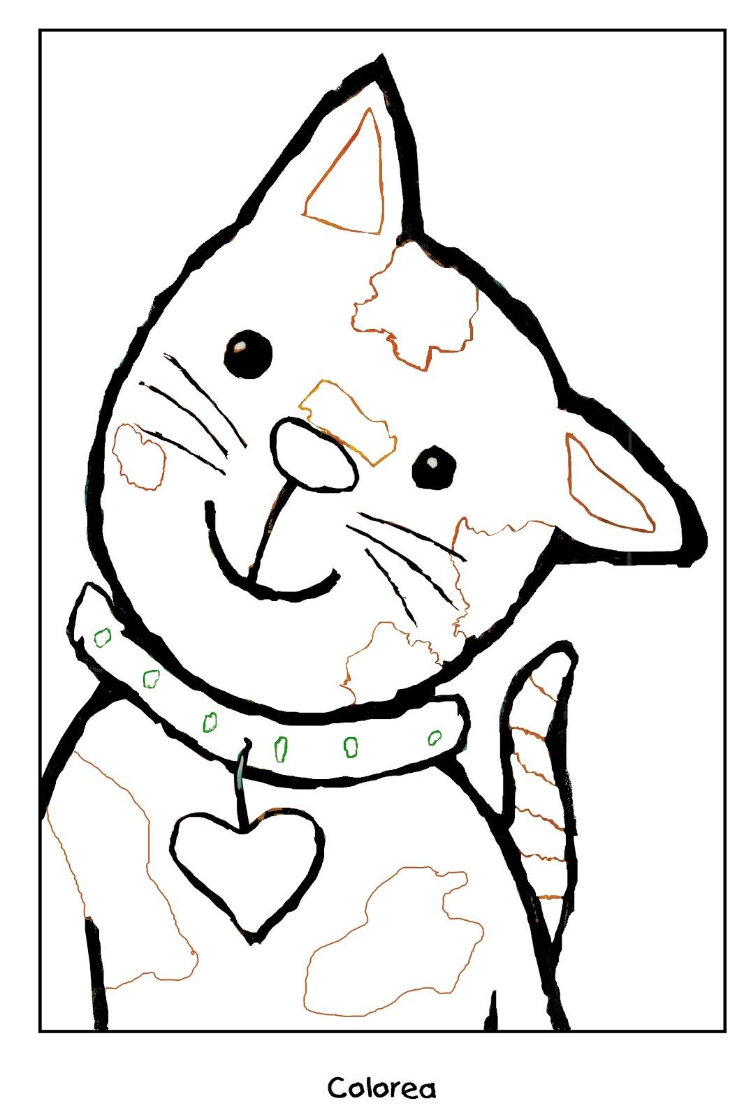 Atractivo Gato Para Colorear Libros Molde - Dibujos Para Colorear En ...