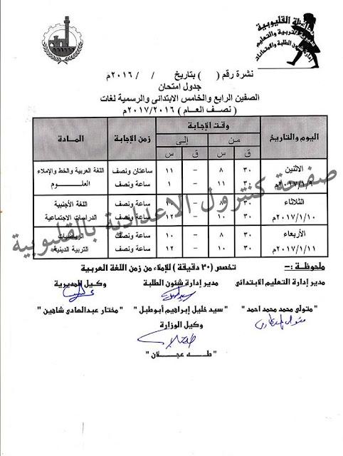 جدول امتحانات الصف الرابع الابتدائي 2017 الترم الأول محافظة القليوبية