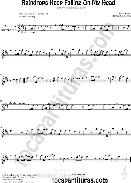 Saxofón Alto y Sax Barítono Partitura de Raindrops Keep Falling on my Head Sheet Music for Alto and Baritone Saxophone Music Scores