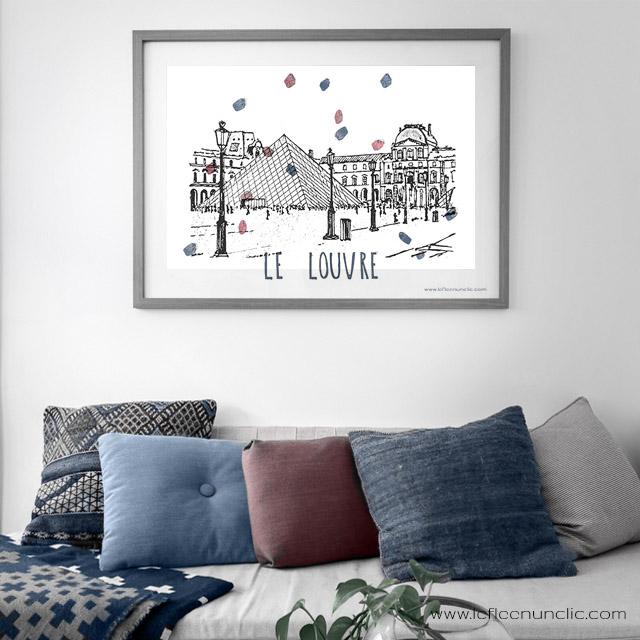 le musée du louvre Paris, affiche à télécharger gratuitment