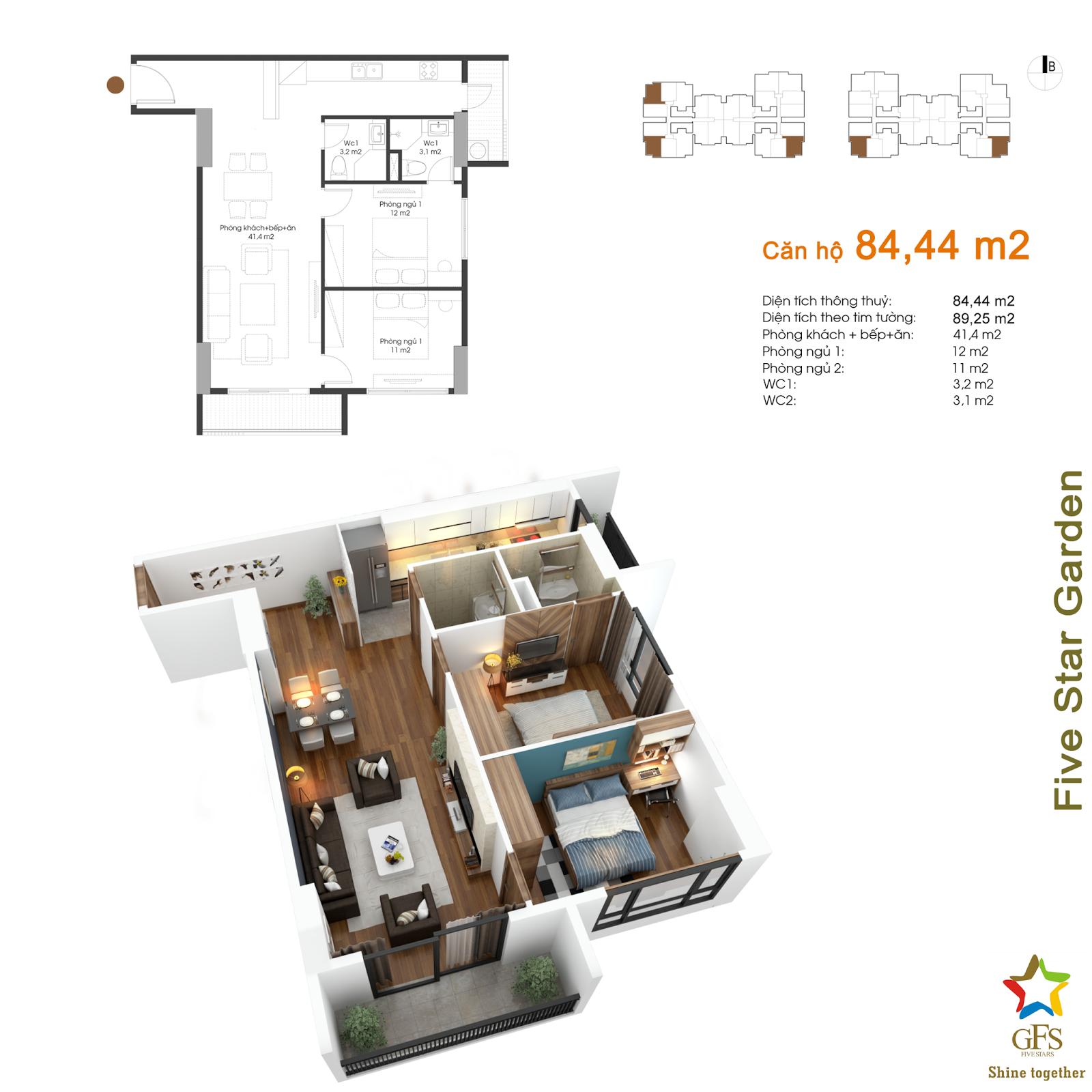 Thiết kế căn hộ 84,44 m2 Five Star Kim Giang