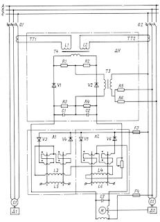 Принципиальная схема устройства автоматического распределения активных нагрузок параллельно работающих генераторов