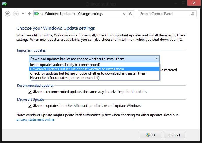 stop or Disable Windows 8 or 8.1 auto update step 4