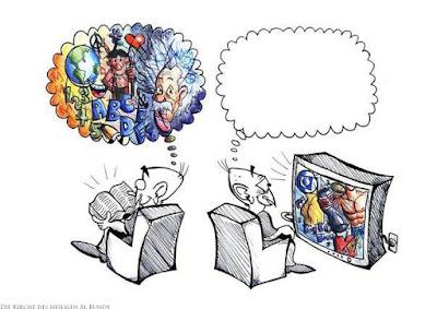 Fantasie - Fernsehen gucken gegen Buch lesen Spaßbilder zum nachdenken