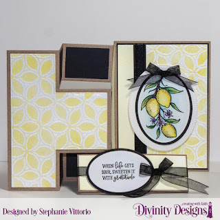 Divinity Designs Stamp Set: Lemon Branch, Custom Dies: Belly Band, Half Shutter Card with Layers, Pierced Ovals, Ovals, Mixed Media Stencil: Petals