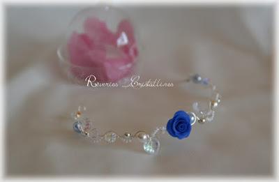 bracelet mariée en fil plaqué argent et rose porcelaine