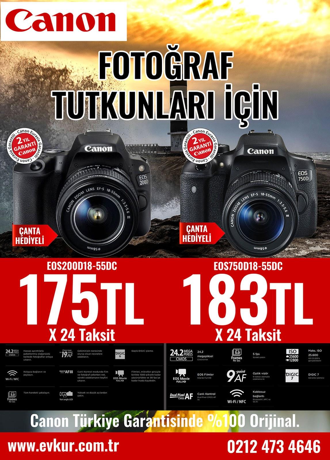 Canon 200D ve 750D Fotoğraf Makinesi Kampanyası