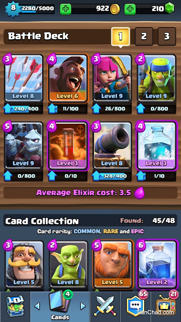Best Battle Deck for Arena 6/Arena 7 - Battle Deck 1 (Hog Rider and Freeze Combo)