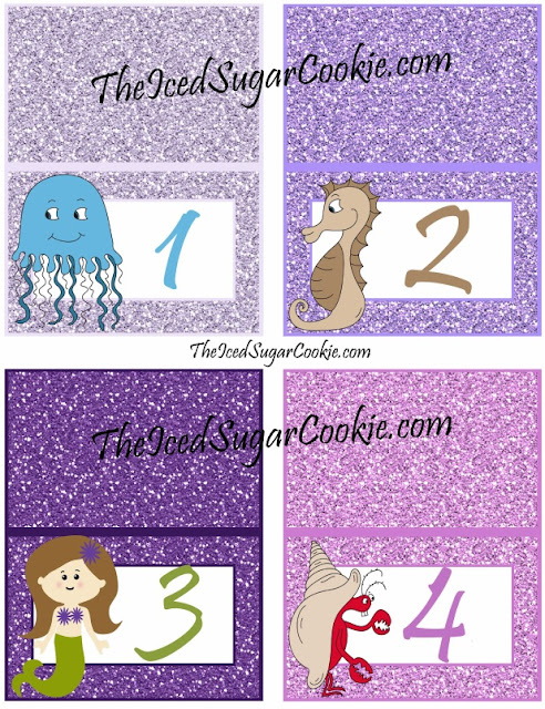1 2 3 4 DIY Glitter Mermaid Food Label Tent Cards Birthday Party-Printable Template digital download Jellyfish seahorses mermaids crabs