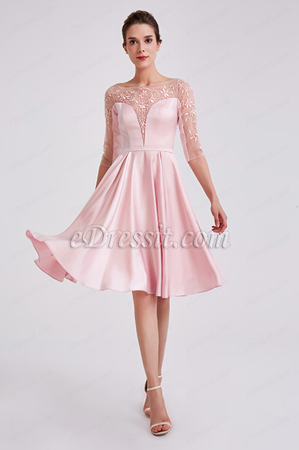 cute short sleeves pink cocktail dress