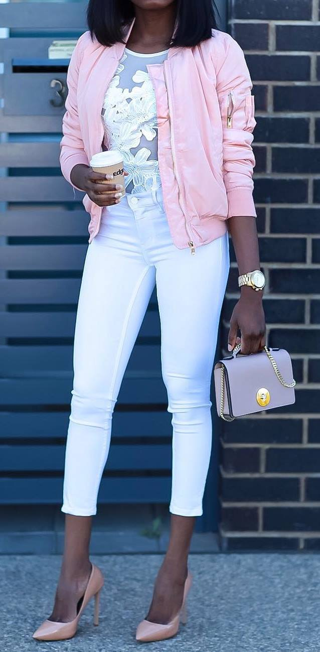 white and blush pink outfit idea