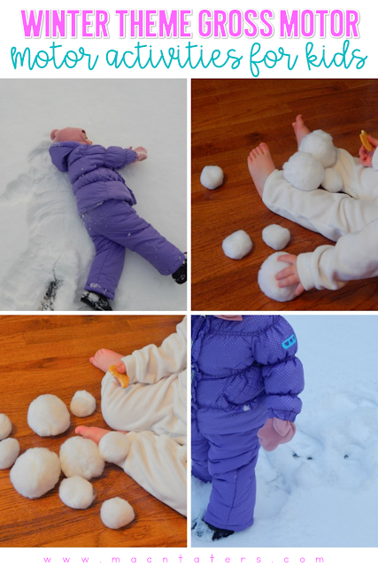 Winter Themed Gross Motor Activities: Make Tracks In The Snow and Indoor Snowball FIght