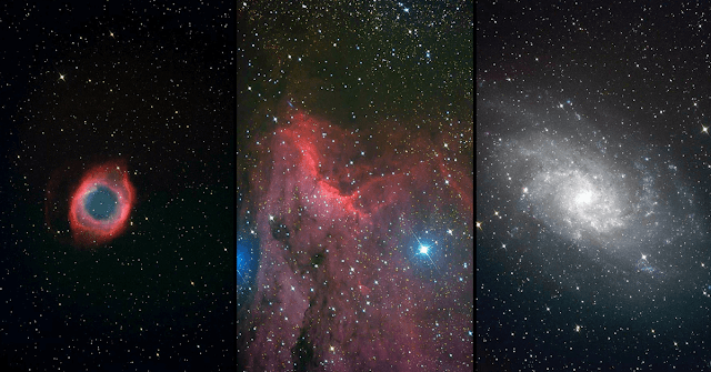 From Left to Right: NGC 7293 - The Helix Nebula Imaged by Nolan and Ella,  IC 5070 - The Pelican Nebula Imaged by Haley and Ava,  M33 - The Triangulum Galaxy Imaged by Kassidy and Liam