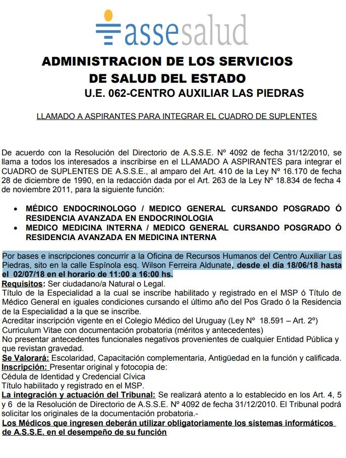 Médicos Endocrinólogos y Medicina Interna llamados 2018 Asse